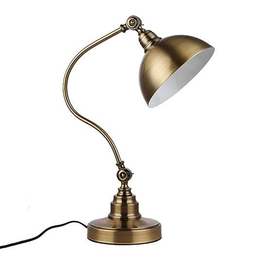 Lámpara De Escritorio Vintage LED Lámpara De Mesa De Bronce ...