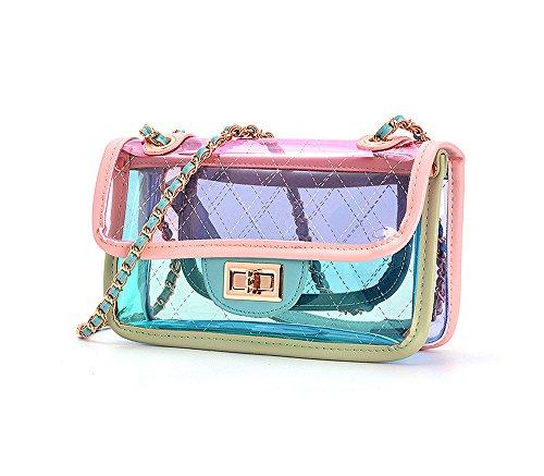 YSMYWM Women Transparent Candy Color Handbag Beach Bag Jelly Bag Girls Mini Chain Shoulder Bag Crossbody Bag Messenger Bag Purse