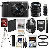 Panasonic Lumix DMC-GX85 4K Wi-Fi Digital Camera & 12-32mm & 45-150mm Lens (Black) with 64GB Card + Battery + Backpack + Tripod + Filters Kit For Sale