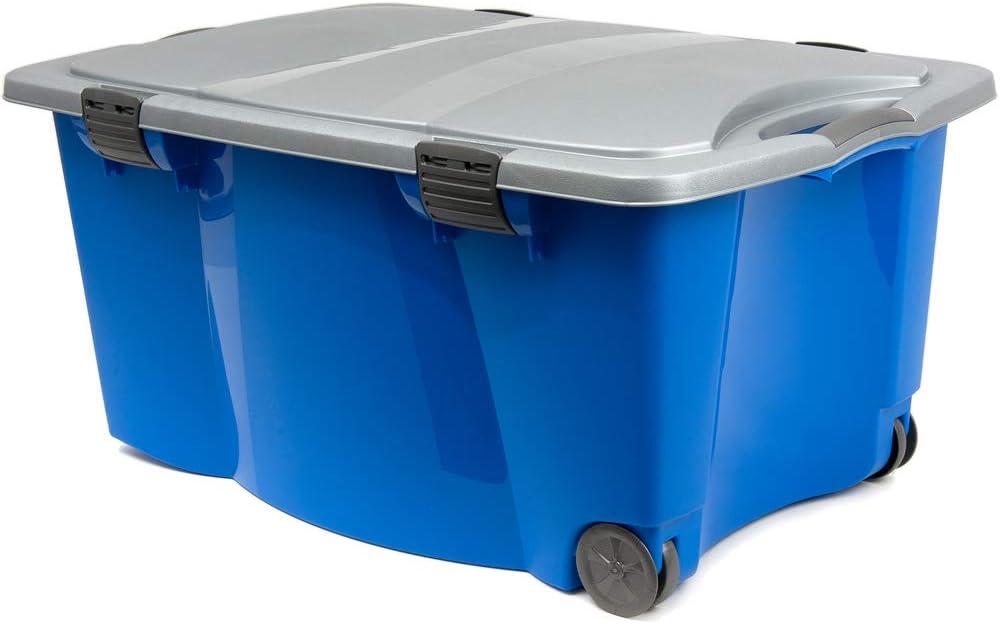 Lot de 3 empilable Léger en plastique 110 L Box Clip /& couvercle dans Cool en bleu//acier
