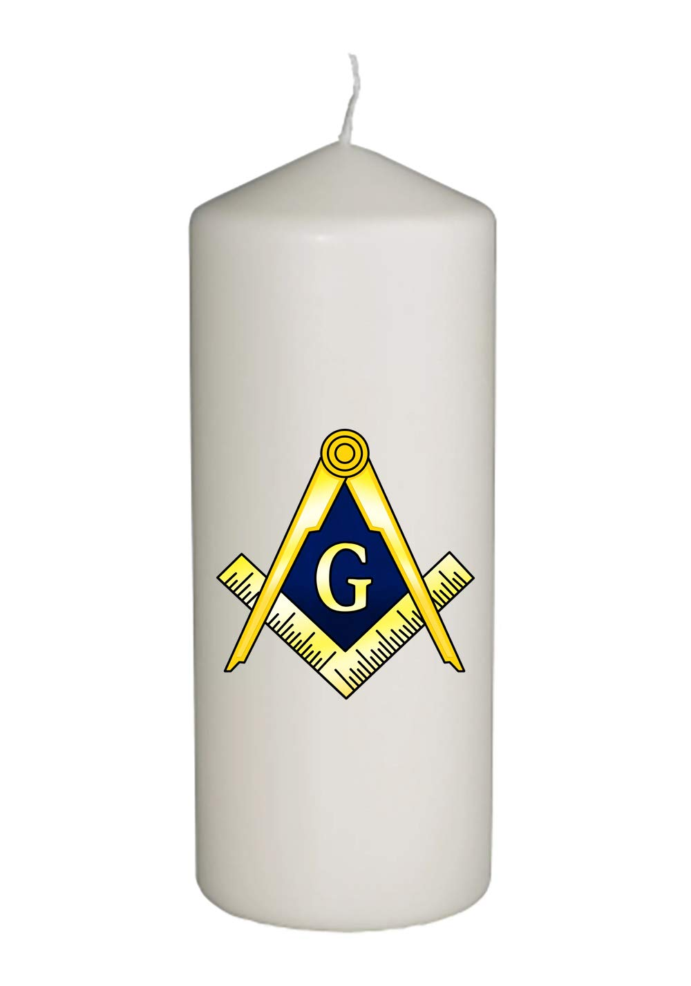 Hat Shark Mason Masons Masonic Live Better Logo Symbols Thick White in Full Color Unity Candle - Wedding, Baptism, Funeral, Special Event Decoration (6 inches Tall)