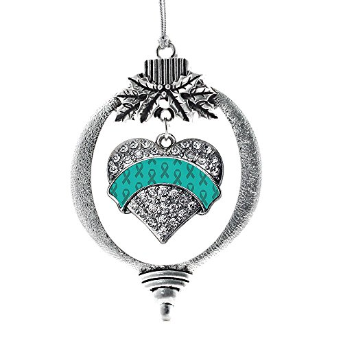 Inspired Silver Teal Ribbon Support Pave Heart Holiday Decoration Christmas Tree Ornament