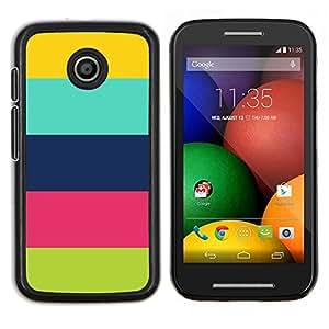 LECELL--Funda protectora / Cubierta / Piel For Motorola Moto E -- Patrón de colores pastel Clean feliz --