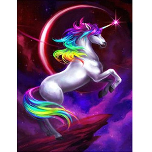 MXJSUA DIY 5D Diamond Painting by Number Kits Full Drill Rhinestone Embroidery Cross Stitch Pictures Arts Craft for Home Wall Decor,Flying Unicorn 12x16In ()