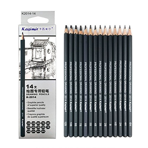 (Best Quality 14pcs/set 12B 10B 8B 7B 6B 5B 4B 3B 2B B HB 2H 4H 6H Graphite Sketching Pencils Professional Sketch Pencils Set for Drawing)