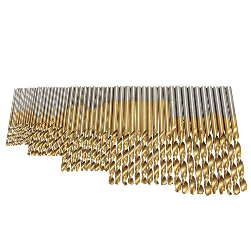 Yakamoz 50pcs 1.0/1.5/2.0/2.5/3.0mm High Speed Steel with Titanium Coated Drill Bit Set Tool - 2 High Speed Steel Drills