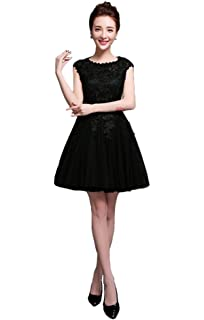 1129a9e6df SunnyGirl Women s Short Lace Appliques Cap Sleeces Tulle Homecoming Dress  Prom Dress