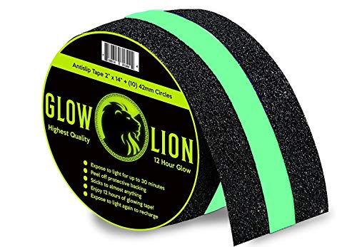 Non-Slip Glow In The Dark Tape | Anti Slip Adhesive Grip for Stairs and Gaffers | 2 Inches Wide By 14 Feet Long | Glow-In-The-Dark (In The Glow Dark 2 Tape)