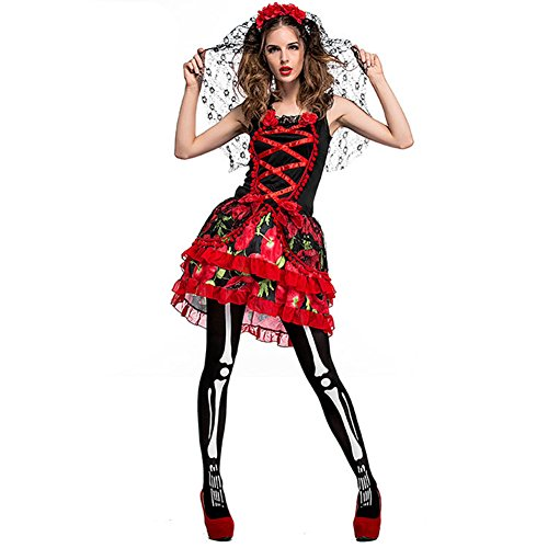 Halloween corpse Princess Bride Costume for Women Girls Red Sexy Zombie Bride Dress Wedding with Veil (M)