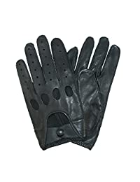 totes ISOTONER Mens Classic Leather Unlined Driving Gloves, Xlarge, Black