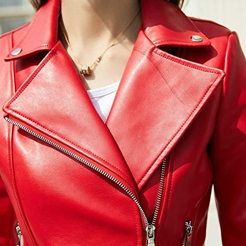 M Manteau Femelle Veste Revers Courte Veste Rouge vtements Automne Noir Moto Mince PU SED Femmes v8Zwp6q7P8
