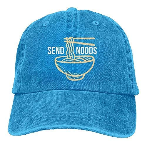 Send Noods Ramen Noodles Plain Adjustable Cowboy Cap Denim Hat for Women and Men RoyalBlue (Womens Hat Charlie Adjustable)