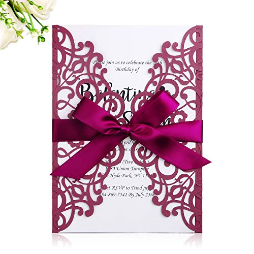- PONATIA 25PCS 5.12 x 7.1 '' Laser Cut Wedding Invitations Cards with Burgundy Ribbons for Wedding Bridal Shower Engagement Birthday Graduation Invitation Cards (Burgundy)