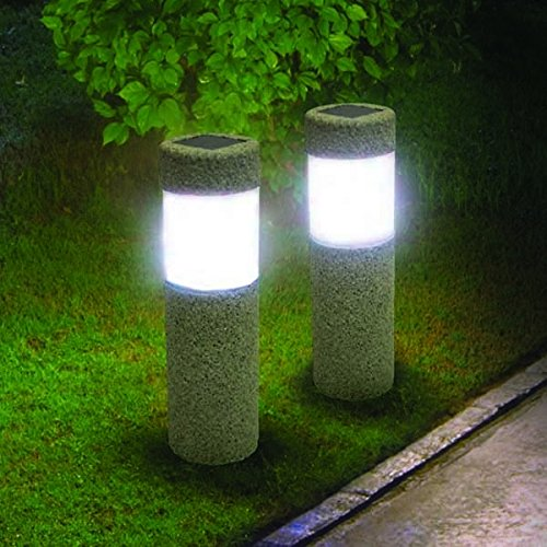 Bazaar Solar Power Stone Pillar White LED Lights Garden Lawn Courtyard Decoration Lamp