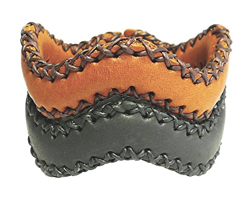 Bijoux De Ja Set of 2 Black Brown Braided Wave Open Leather Cuff Bangle Bracelet LBrSP107 (Studded Wristband Single)