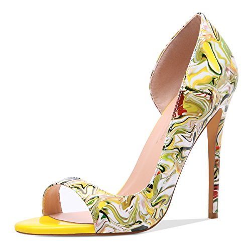 Onlymaker Women Fashion Peep Toe Heeled Sandals Slip On High Heels Pumps for Party Dress Multicolor Printing 7 M US
