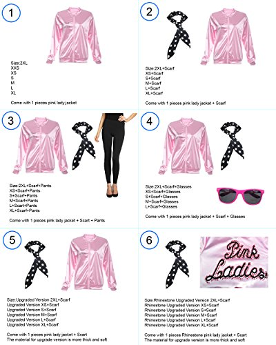 [TDmall 50S Grease T-Bird Danny T Bird / Pink Ladies Jacket Costume Fancy Dress (M+Scarf, Women)] (50s Themed Costumes)