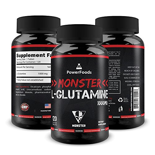 Pure Glutamine ★ Monster L-Glutamine x120 Tablets (Easy to Swallow) ★ 1000mg Amino Acid ★ Supports Muscle Growth and Recovery + Boosts Immune System + Intestine Health For Sale
