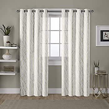 Exclusive Home Curtains Woodland Printed Metallic Branch Textured Linen Sheer Grommet Top Window Curtain Panel Pair