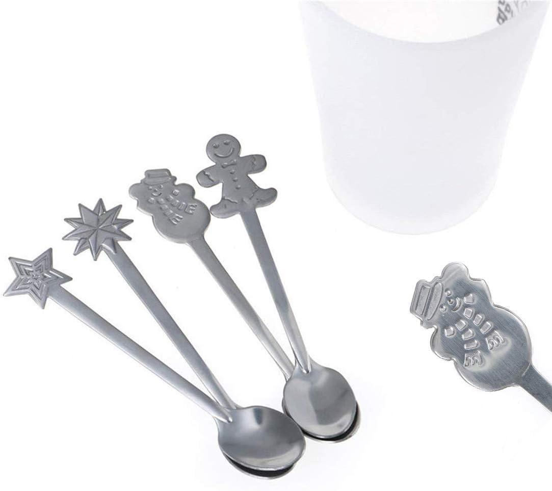 Christmas Coffee Spoon Stainless Steel Spoons Xmas Coffee Tea Dessert Mixing Spoons Christmas Stocking Fillers