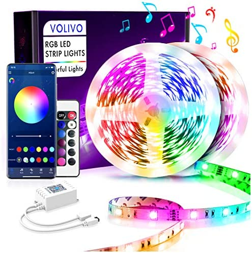 Volivo Bluetooth Led Strip Lights 50ft, Smart App Controlled Music Sync with Remote 5050 RGB Color Changing Led Lights for Bedroom, TV, Home