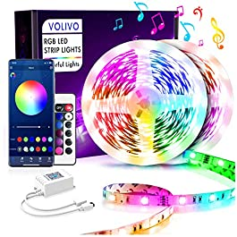 Volivo Bluetooth Led Strip Lights 50ft, Smart App Controlled Music Sync with Remote 5050 RGB Color Changing Led Lights…