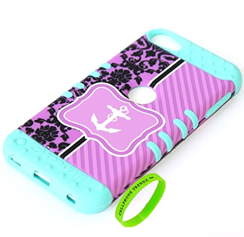 Cellphone Trendz 3-piece Impact Hybrid Combo Hard Case Cover For iPod Touch 5th Generation - Chevron Anchor Design Hard Case (Purple Damask Anchor on Mint Blue Silicone)