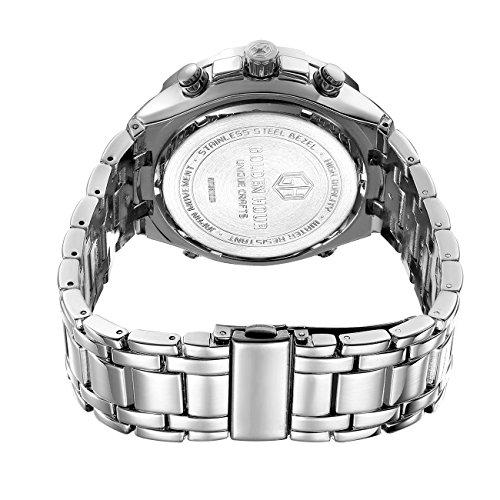 GOLDEN HOUR Luxury Stainless Steel Analog Digital Watches for Men Male Outdoor Sport Waterproof Big Heavy Wristwatch 6