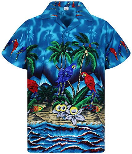 Funky Hawaiian Shirt, parrot, turkis, XXL