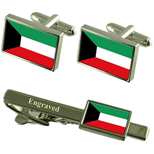 Boutons de manchette Drapeau Koweït Cravate gravé Coffret Correspondance