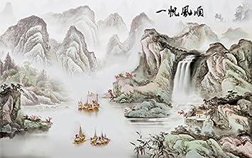 Papier Peint Du0027artiste Traditionnel Chinois / Tapisserie Numérique «Paysage  Magnifique   Dans Le