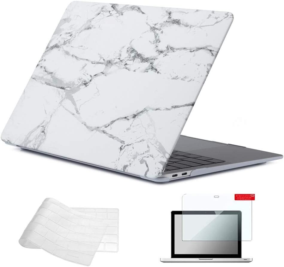 Se7enline 2018/2019 New MacBook Air 13 Inch Case Hard Shell Case Keyboard Cover Screen Protector for MacBook Air 13-Inch with Retina Display Touch ID Newest Version Model A1932, White Grey Marble