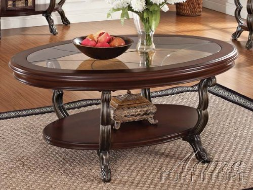 Discount bavol cherry finish wood oval shaped coffee table for Cherry wood glass coffee table