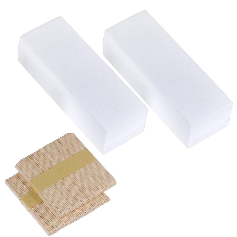 300 PCS Wax Strips and Wax Sticks, Bagvhandbagro Non-Woven Wax Strips Hair Removal Kit Includes Waxing Strips and Waxing Sticks, Facial Wax Strips Wooden Wax Applicator Sticks for Hair Removal