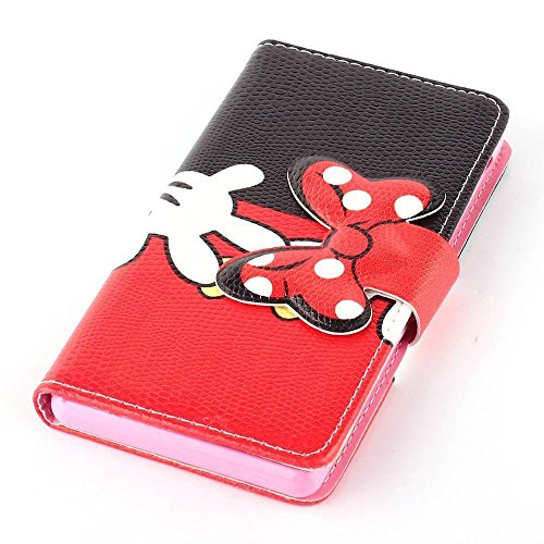 Galaxy Grand Prime G530h Case,DELELE MOUSE Monster Bowknot Premium PU Leather Stand Wallet Flip Case with Card Slots,Folio Closure Cover for Samsung Galaxy Grand Prime G530h (Black Red Bow Bowknot Glove)
