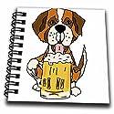 3drose All SmilesアートDrinking–Funny Cute Saint Bernard Dog Drinking Beer–Drawing Book 4x4 notepad db_260866_3