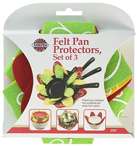 (Norpro Green, Yellow, and Red Felt 3 Piece Pan Protector Set)