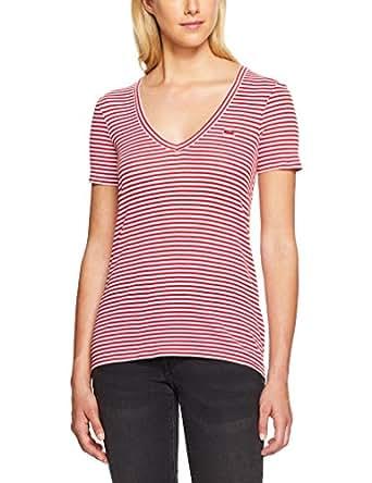 Lacoste Women's Deep V Stripe Tee, White/Red,38F (Standard)