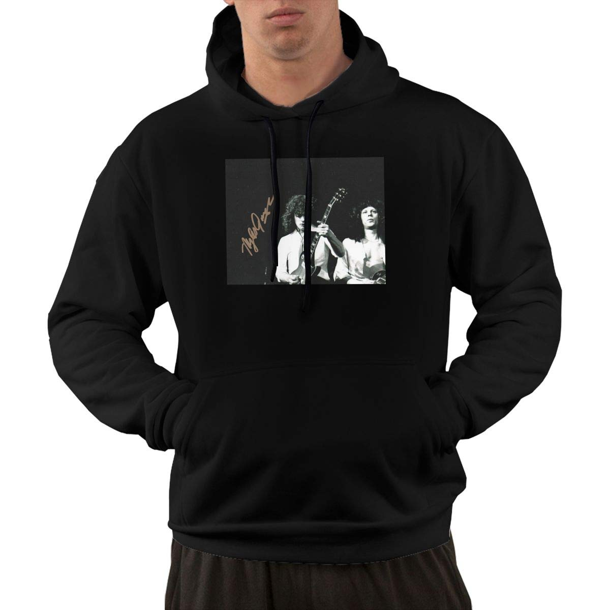 Erman Pullover Casual Black Print April Wine Cool Hooded Shirts With Pocket