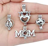 8pcs Mom Heart Mother's Day Gift Love Stainless Steel Tones Alloy Bead Cage Pendant Wish Lucky Lava...