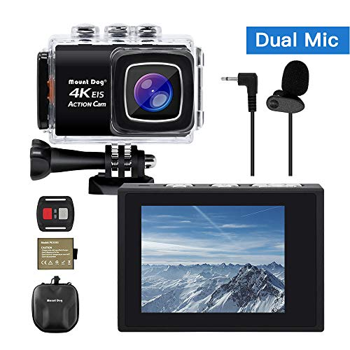 """【Upgrade】 MOUNTDOG Sports Action Camera 4K Underwater Waterproof 30M Camera with Wireless Wrist Remote Control/External Microphone/ 2"""" LCD Screen/EIS/ 170° Wide Angle/Exclusive Portable Camera Case"""