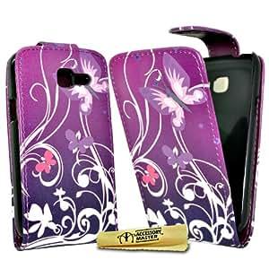 Accessory Master 5055716341638 - Funda de piel para Samsung Galaxy Trend i699, diseño de flores, color morado