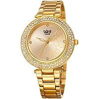 Burgi Women's Quartz Diamond & Swarovski Crystal Accented Flower Design Gold-Tone Bracelet Watch - BUR179YG