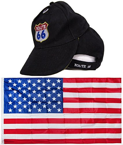 Black US Route Rte 66 Highway Shield  Embroidred Hat & USA F