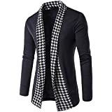Ninasill Mens Autumn And Winter Slim Fit Long Sleeve Patchwork Blouse Tops Coat Outwear (XL, Dark Gray)
