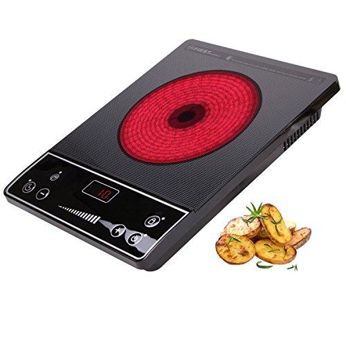 2000 Watt Infrarot-Kochplatte 20cm Kochfeld geeignet für 12 - 26cm Töpfe| jedes Geschirr | Glaskeramik-Kochplatte | Doppelkochplatte | Einzel-Kochplatte | Timer | Tastensperre | Überhitzungsschutz