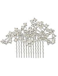 Ever Faith Bridal Silver-Tone Flower Leaf Clear Austrian Crystal Hair Comb N00418-1