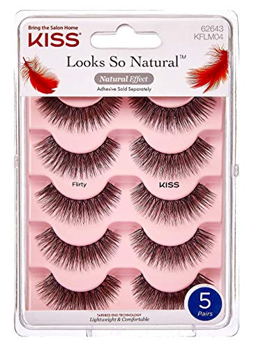 Kiss 5 pair of Flirty Eyelashes KFLM04 with tapered ends