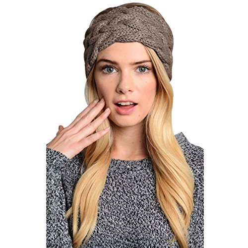 Womens Winter Knitted Headband - Crochet Twist Hair Band Headwrap Hat Cap Ear Warmer (Braided Headwrap)