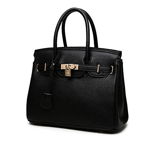 Vivian To Women's Classic Pebbled Leather Padlock Shoulder Bag Top-handle Handbag (Black)
